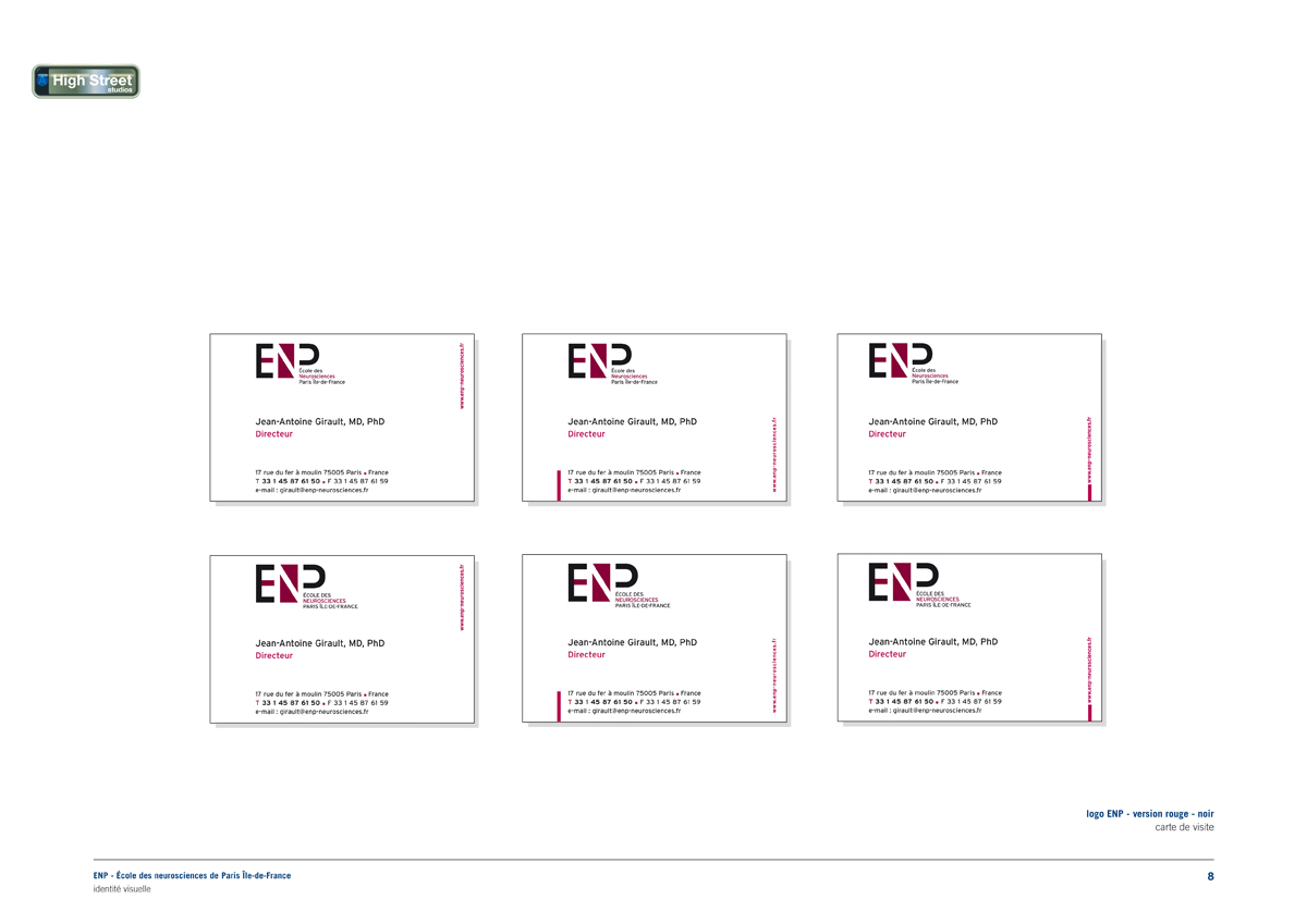 ENP École des neurosciences, Paris (Inserm) - business cards