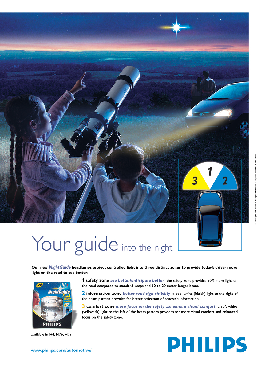 Philips NightGuide automotive lighting ad