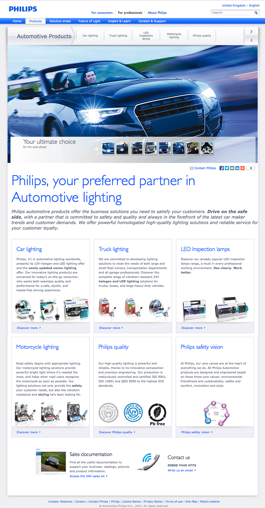 Philips automotive professional website - landing page