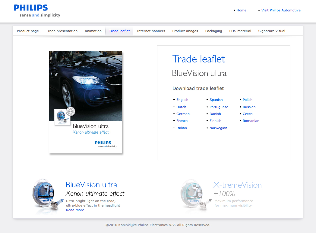 BlueVision ultra and X-tremeVision sales kit - trade leaflet download page