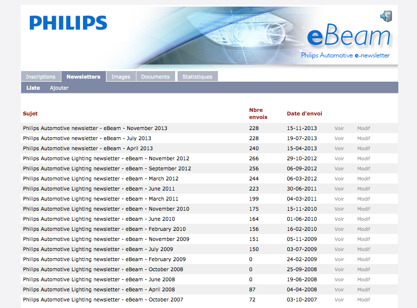 eBeam - Philips automotive e-newsletter - back-office