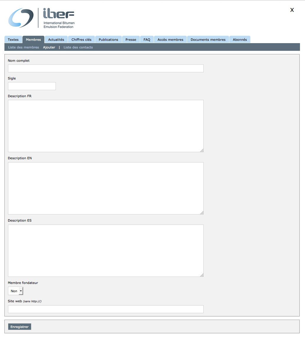 IBEF website tri-lingual back-office administration example