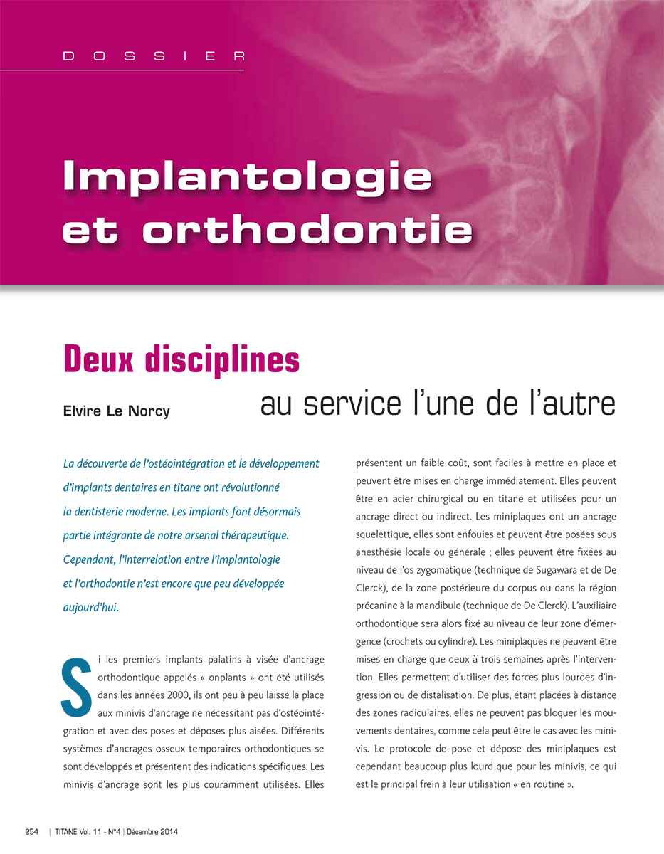 Titane - trimestrial B2B magazine of implantology - inside page