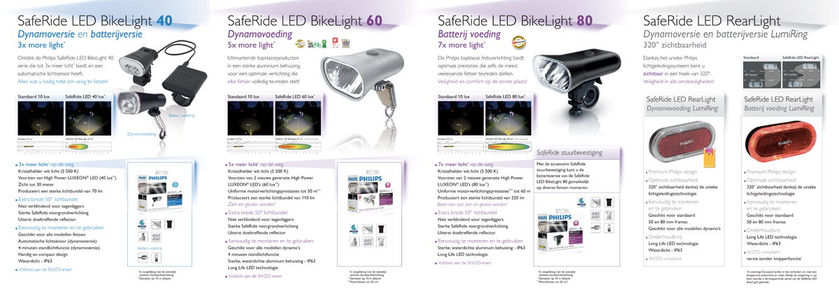 Philips LED Bike lighting trade leaflet - inside - Dutch version