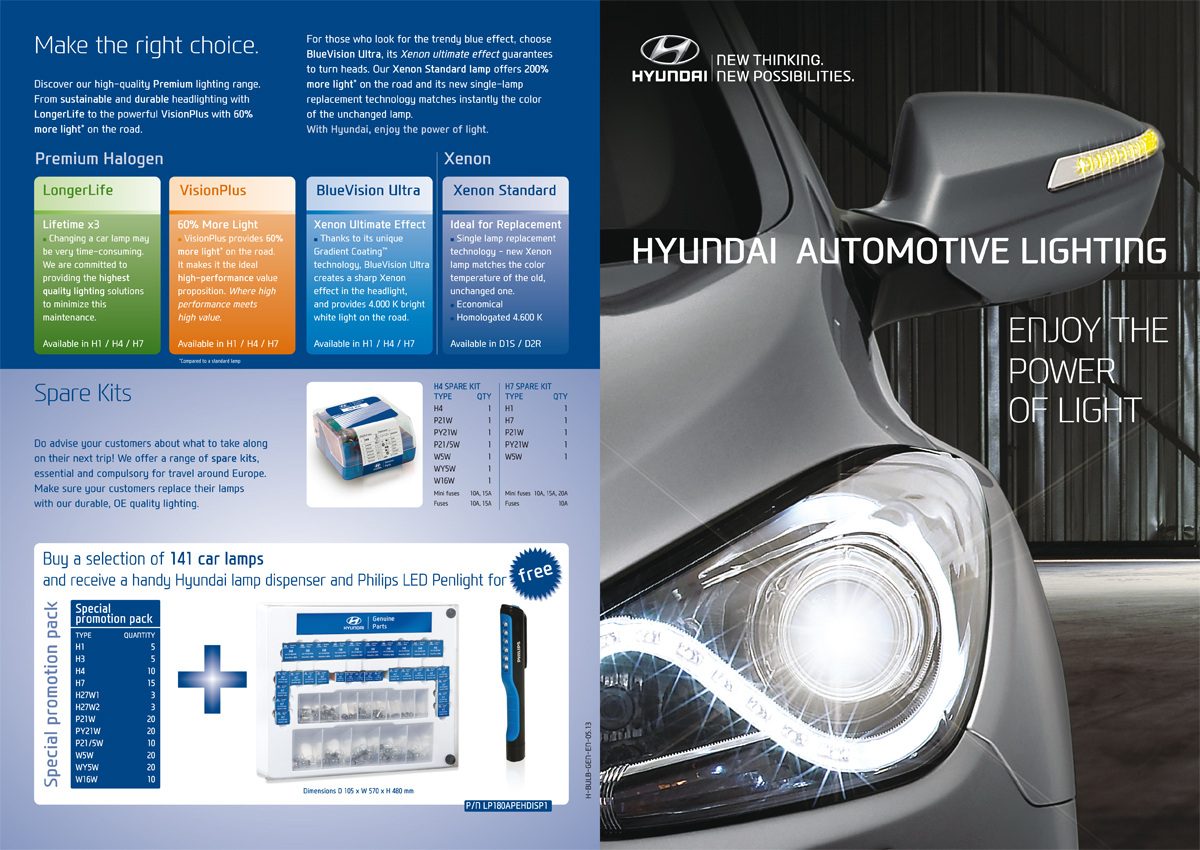 Hyundai automotive lighting brochure - cover and back