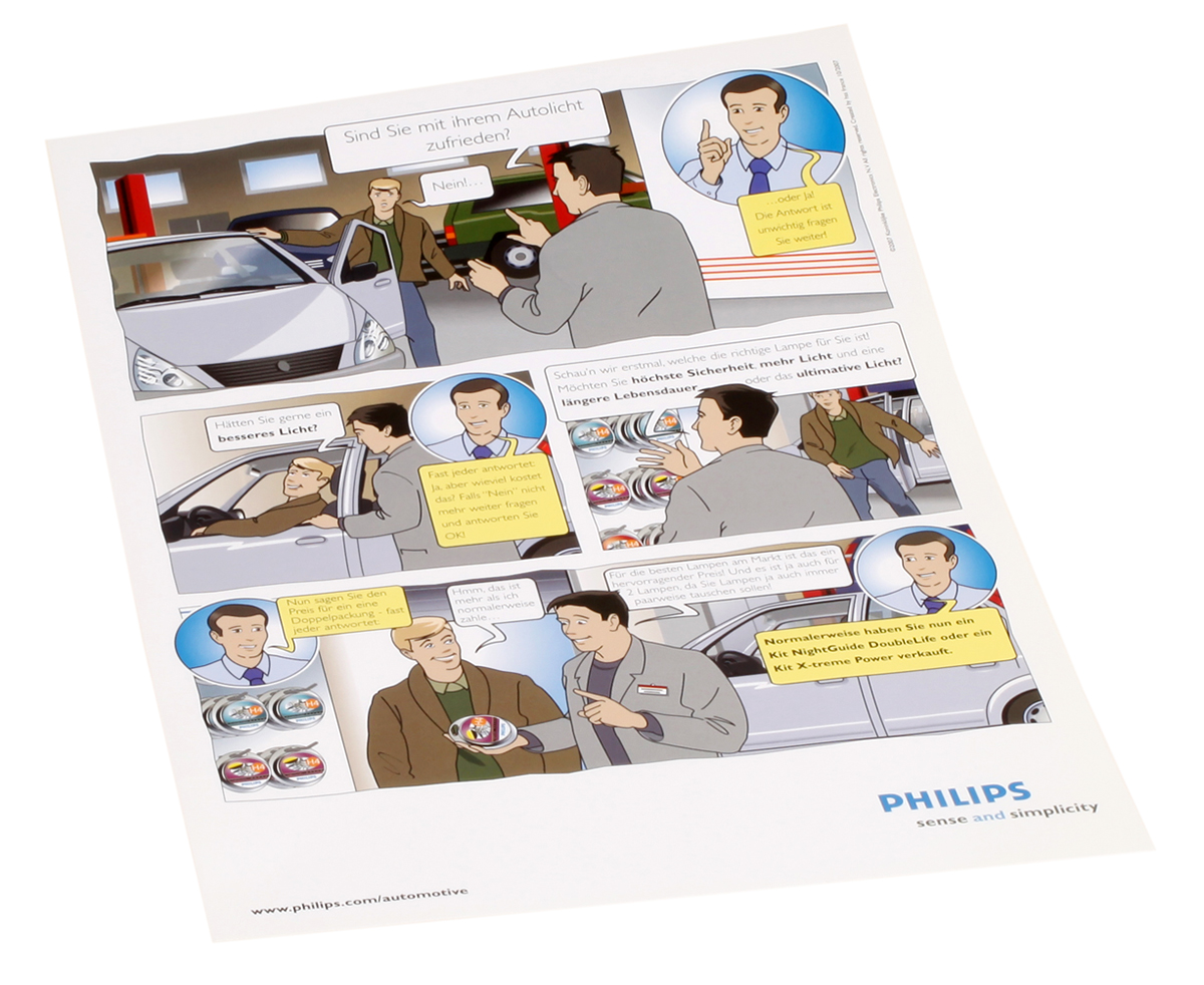 Philips How to sell automotive lamps comics strip
