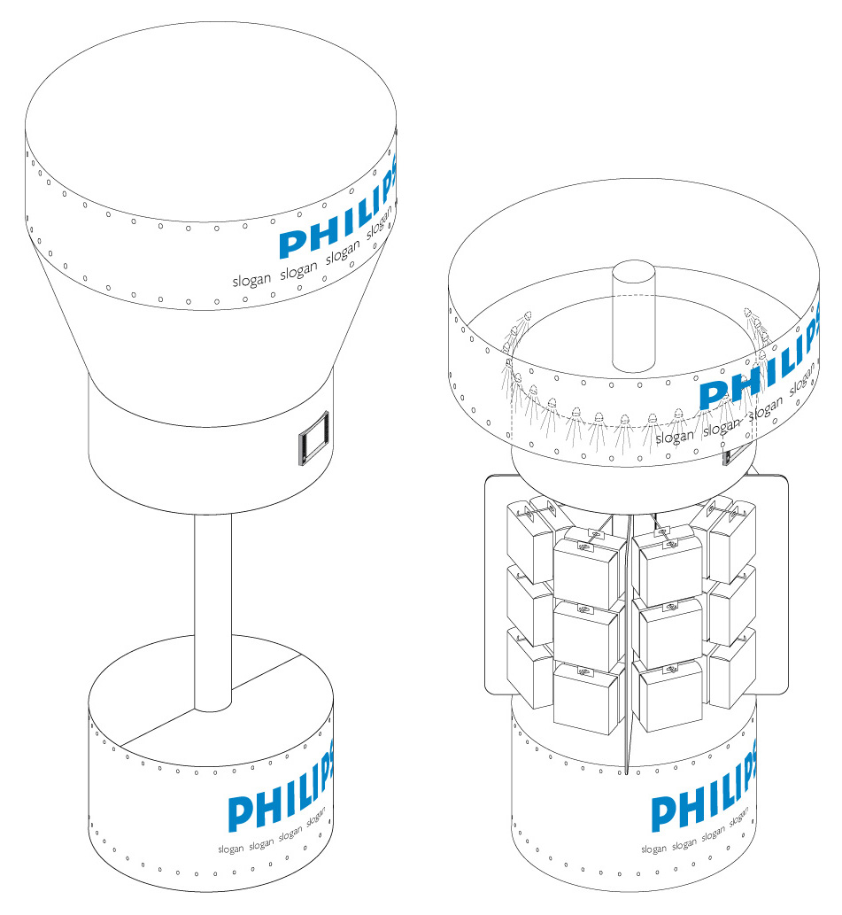 Philips Daytime Running Lights gondola at Carrefour - sketch