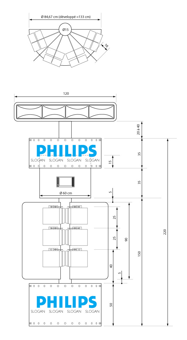 Philips Daytime Running Lights gondola at Carrefour - technical description
